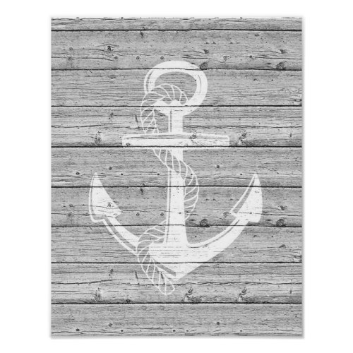 White Anchor on Driftwood Poster Print