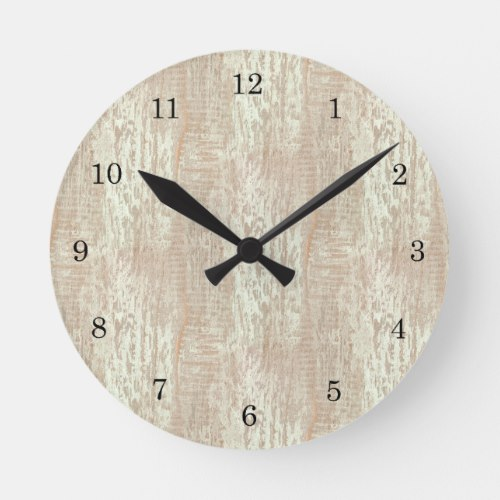 Subdued Coastal Pine Wood Grain Look Round Clock