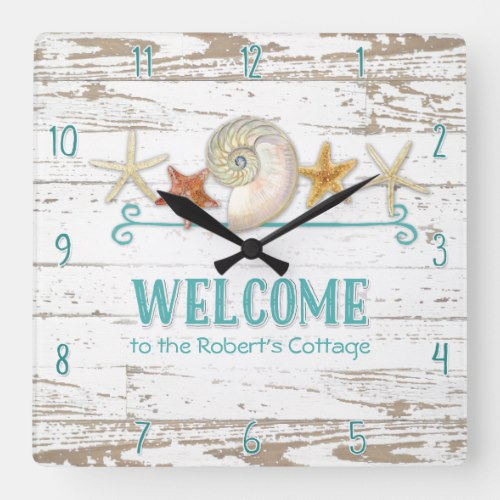 Cottage Style Welcome Wooden Beach Shells Board Square Wall Clock