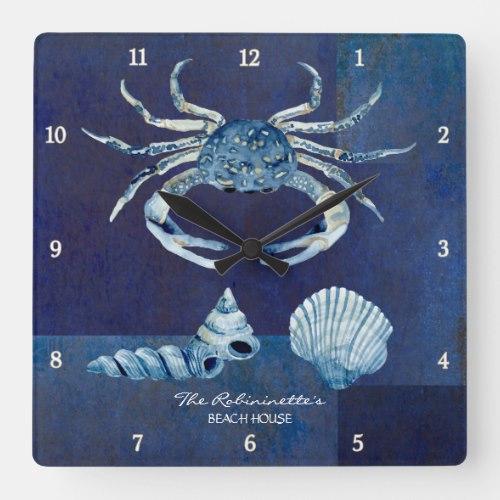 Indigo Ocean Crab Seashells Nautical Beach House Square Wall Clock