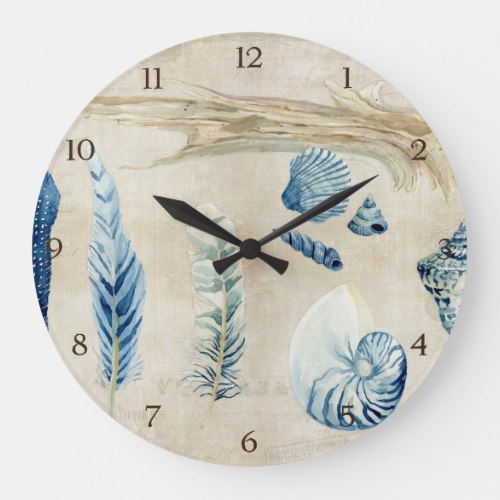 Indigo Ocean Beach Sketchbook Watercolor Shells Large Clock