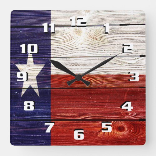 Patriotic Rustic Texas Flag on wood texture Square Wall Clock