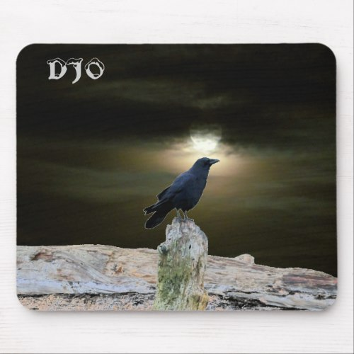 Crow on Driftwood Beach getting Moon Tan Mouse Pad