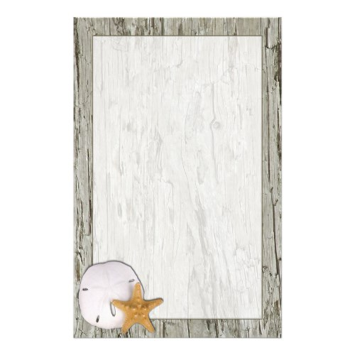 Driftwood Frame With Sand Dollar and Starfish Stationery