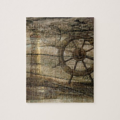 Primitive Coastal Nautical Helm Wheel lighthouse Jigsaw Puzzle