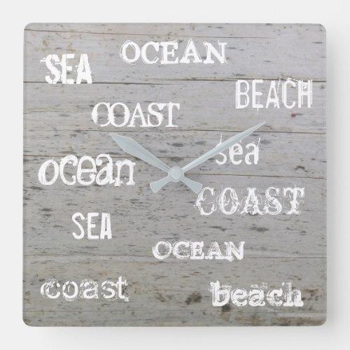 Modern beach driftwood ocean handwritten script square wall clock