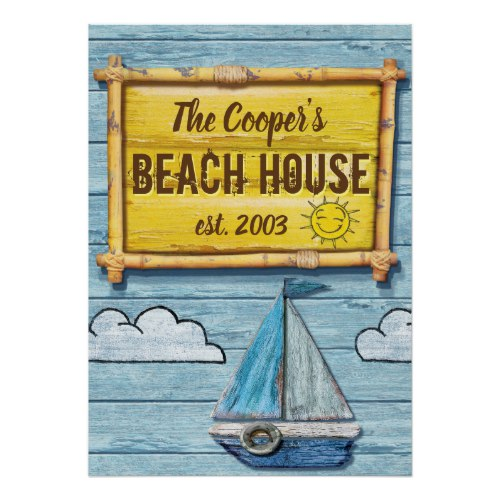Driftwood Beach House family sign poster