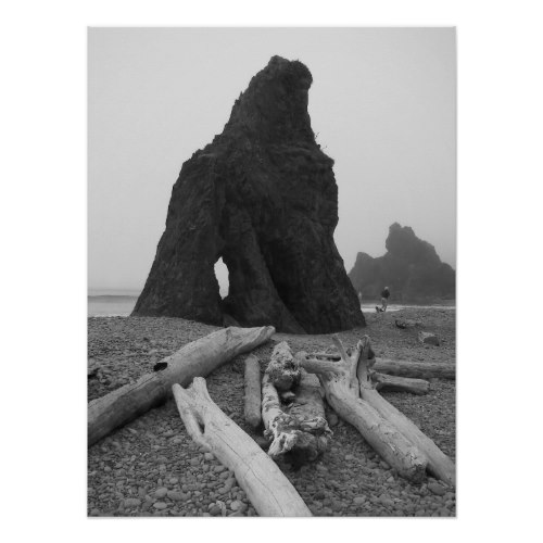 Sea Stacks Black and White Photographic Poster