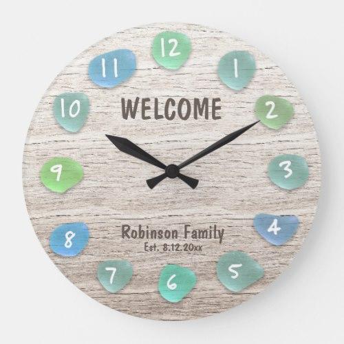 Custom Sea Glass Beach Driftwood Large Clock