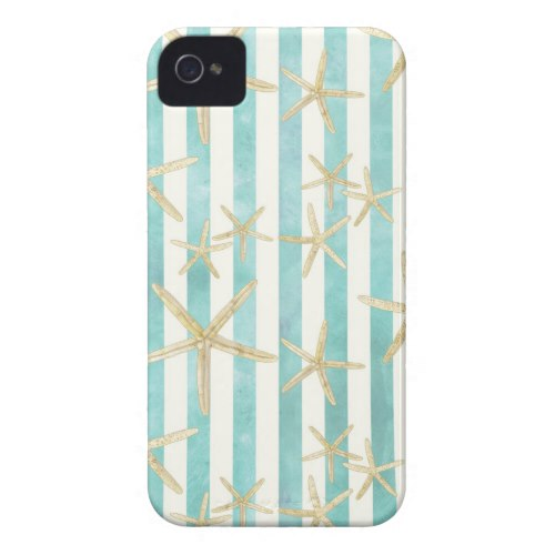 Starfish, White Finger Ocean Shells Beach Striped iPhone 4 Cover