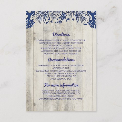 Navy Nautical Driftwood Beach Wedding Details Enclosure Card